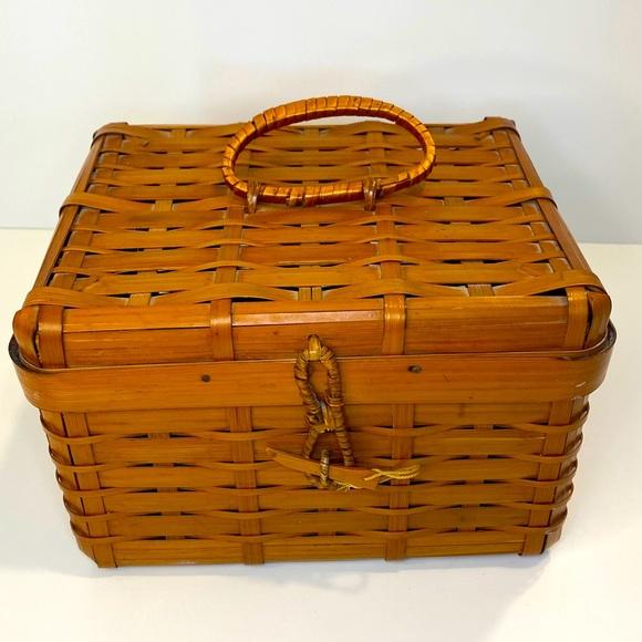 VINTAGE Hand Made Split Bamboo Rattan Japanese Basket